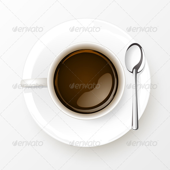 Cup of Coffee with Spoon - Food Objects