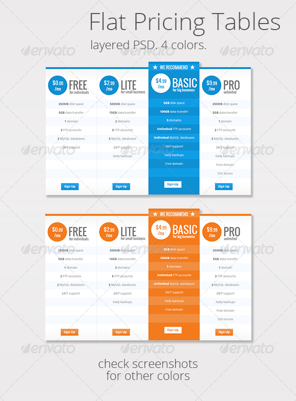 Flat Clean Web Pricing Tables - Tables Web Elements