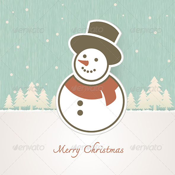 Christmas Snowman with Trees Covered in Snow - Christmas Seasons/Holidays