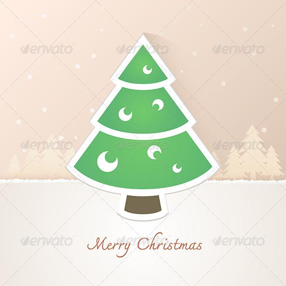 Christmas Tree Paper with Snow Background - Christmas Seasons/Holidays
