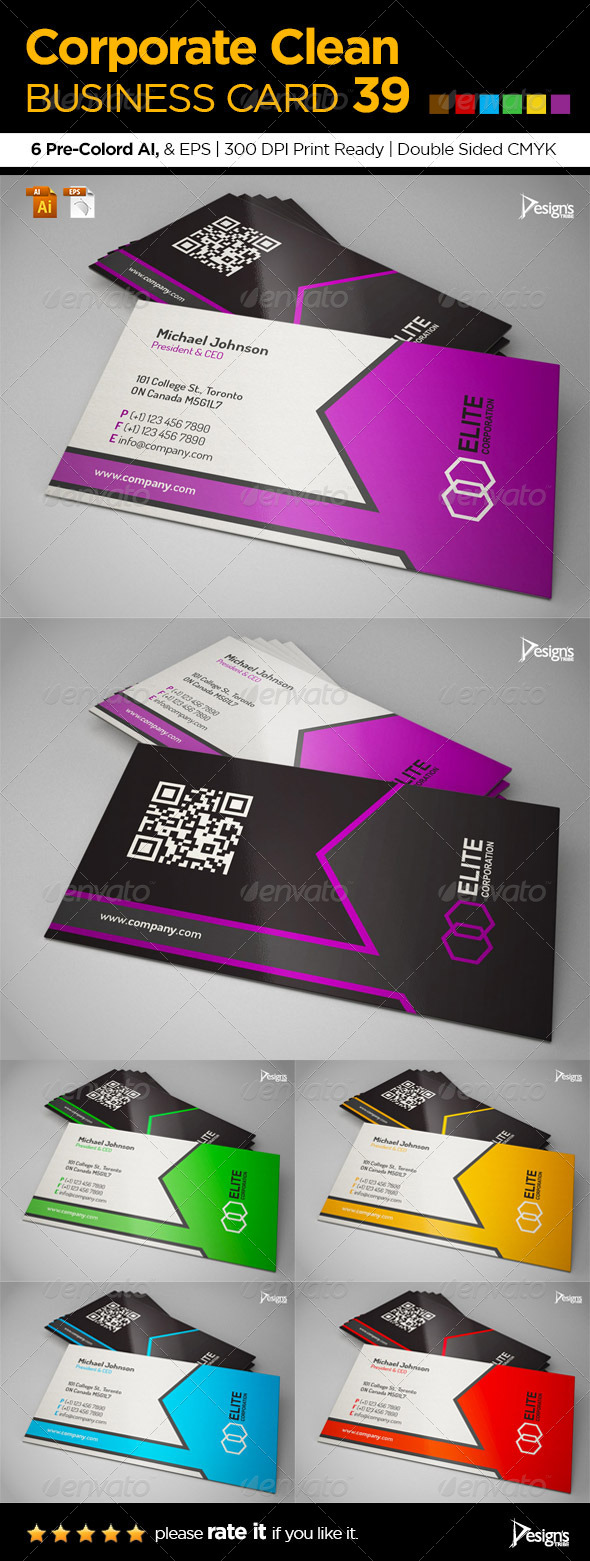 Corporate Clean Business Card 39 - Business Cards Print Templates