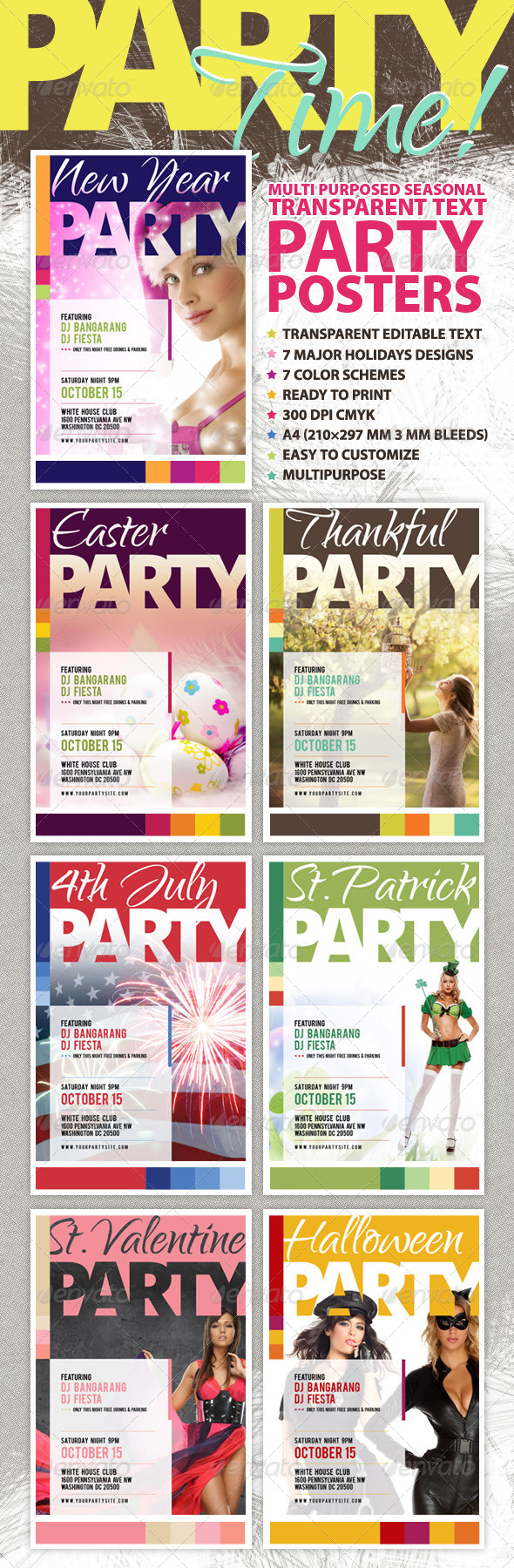 Multipurpose Seasonal Party Posters Kit - Holidays Events