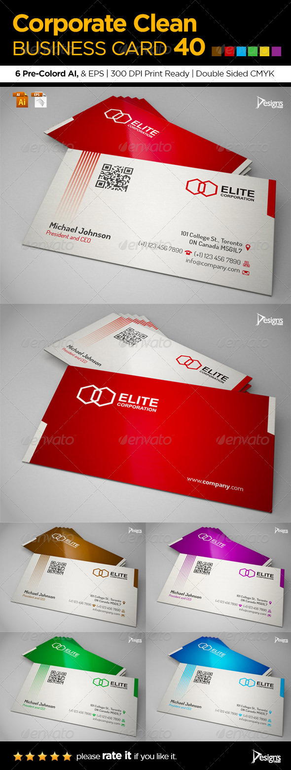 Corporate Clean Business Card 40 - Corporate Business Cards