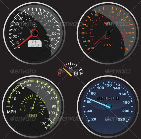 Speedometers Vectors - Objects Vectors