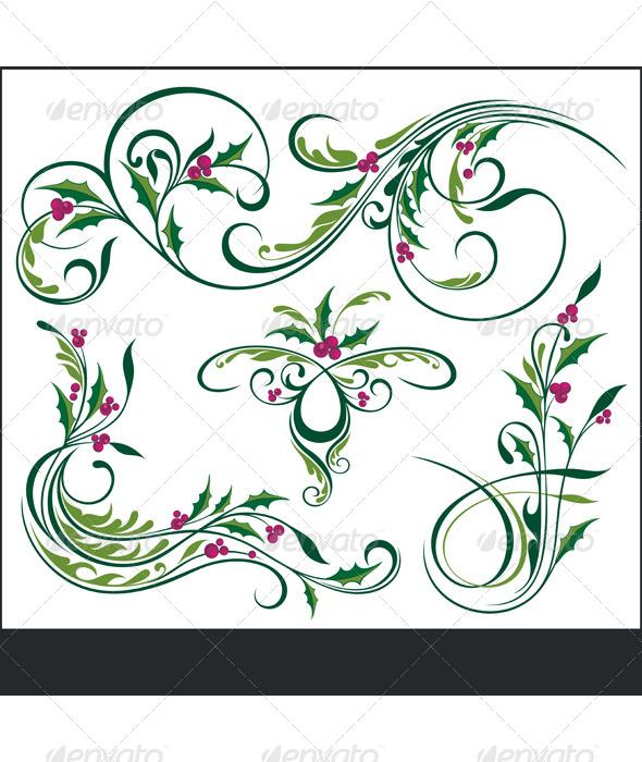 Christmas Elements - Flourishes / Swirls Decorative