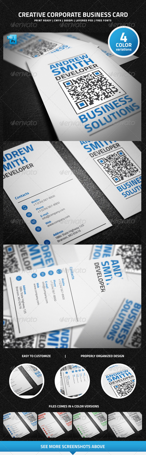 Creative Corporate Business Card  with QR Code - 20 - Creative Business Cards
