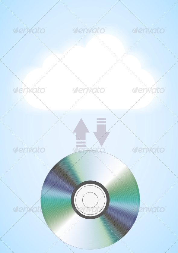 Vector Computer Cloud with Disc on Blue - Communications Technology
