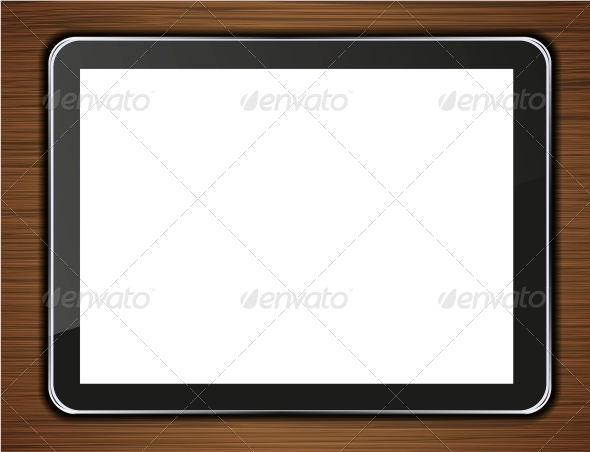 Vector Computer Tablet on Wooden Background. - Communications Technology