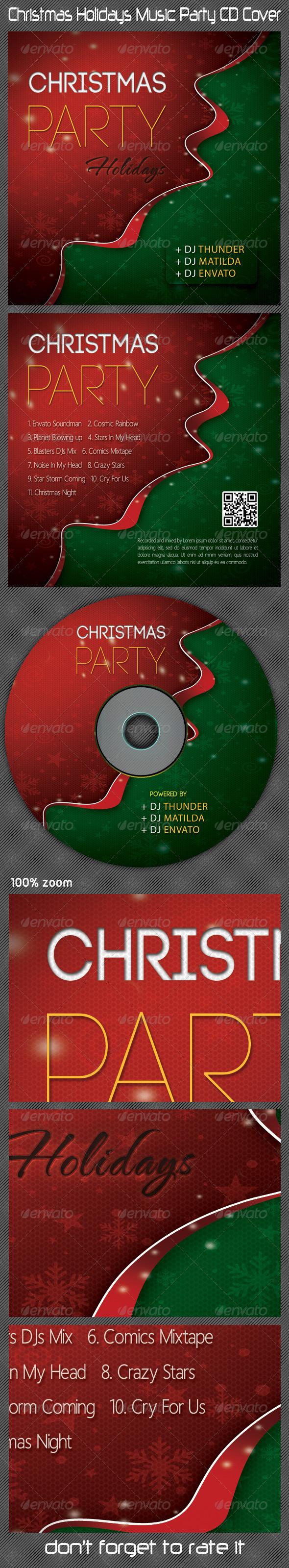Christmas Holidays Music Party CD Cover - CD & DVD Artwork Print Templates