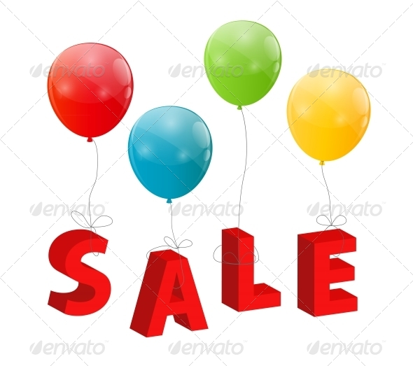 Balloons with Sale Letters . Concept of Discount.  - Retail Commercial / Shopping