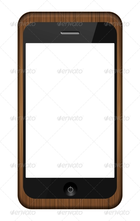 Vector Smartphone in a Wooden Cover  - Communications Technology