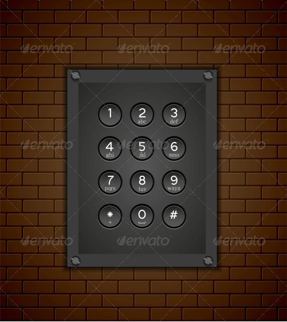 Phone Keypad on Brick Background - Communications Technology