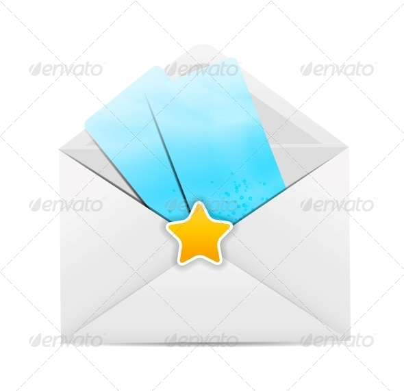 White Envelope Icon with Star Vector Illustration - Valentines Seasons/Holidays