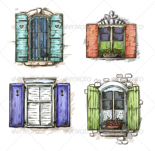 Set of Vintage Windows Hand Drawn - Buildings Objects
