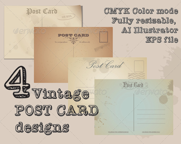 Vintage Post Cards - Conceptual Vectors