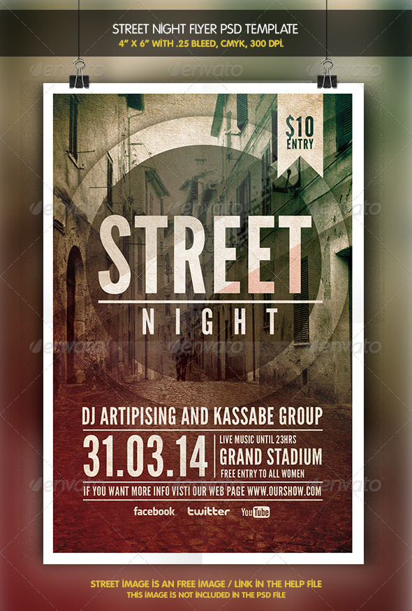 Street Night   Flyer Template - Clubs & Parties Events