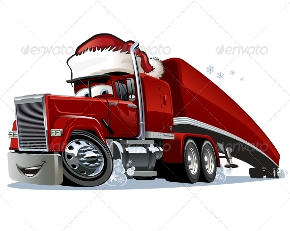 Cartoon Christmas Truck - Christmas Seasons/Holidays