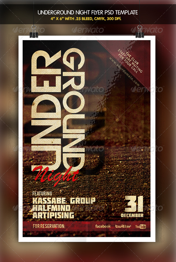 Underground Party Night Flyer - Clubs & Parties Events