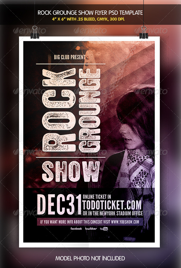 Rock Grounge Show   Flyer Template - Concerts Events