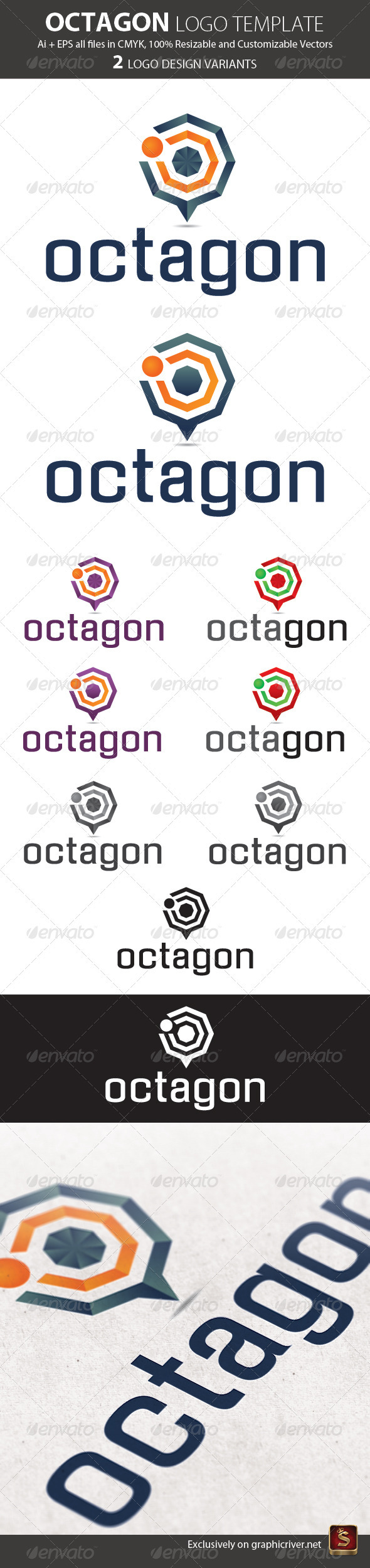 Octagon Logo Template - Vector Abstract