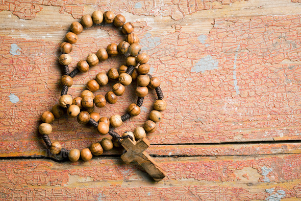 Wooden rosary beads - Stock Photo - Images