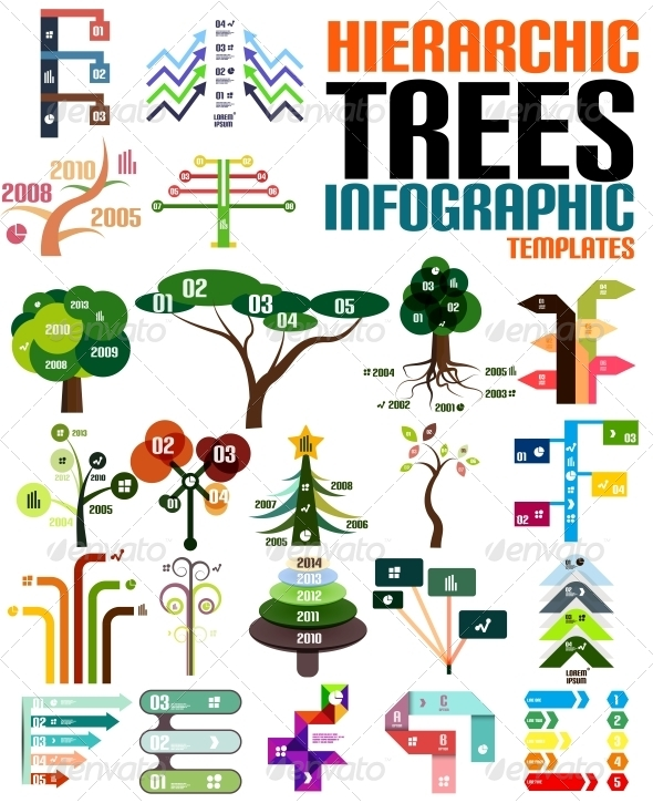 Hierarchic Tree Infographic Templates Set - Web Technology