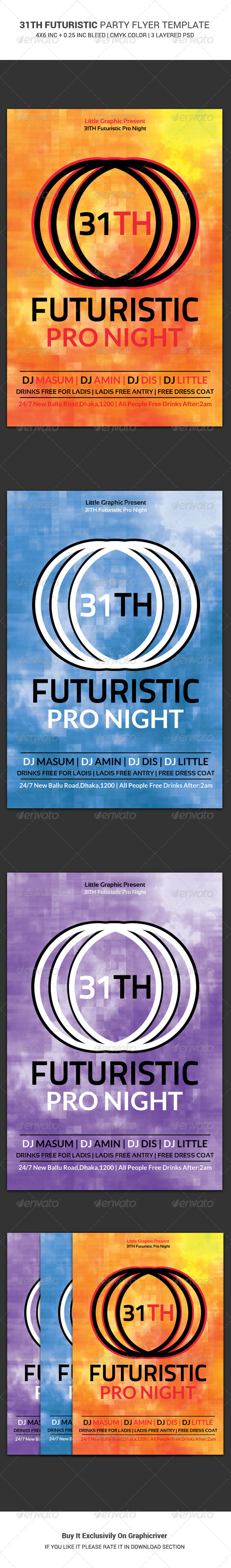 31th Futuristic Party Flyer Template - Clubs & Parties Events