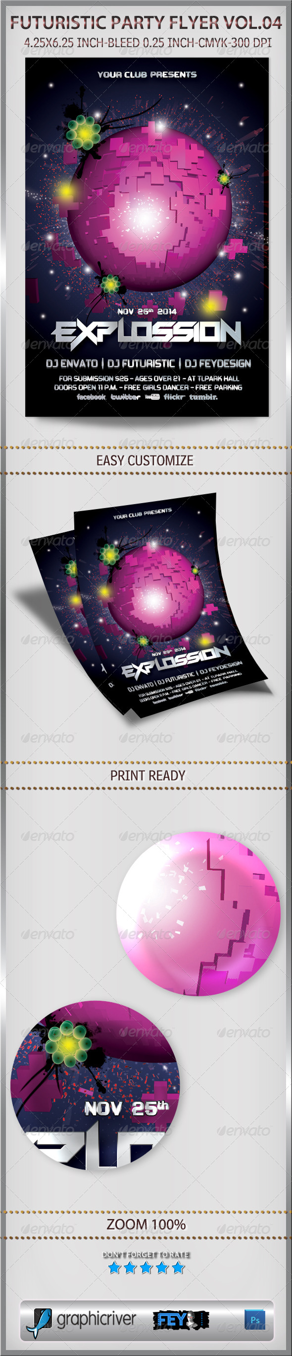 Futuristic Party Flyer Vol.04 - Clubs & Parties Events