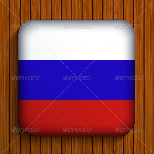 Vector Flag Icon on Wooden Background - Travel Conceptual