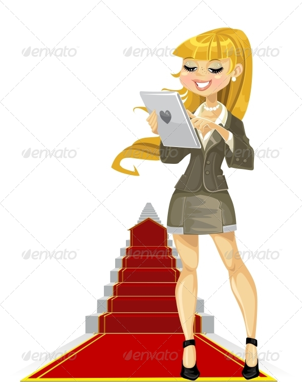 Girl with Laptop on Success Ladder - Concepts Business