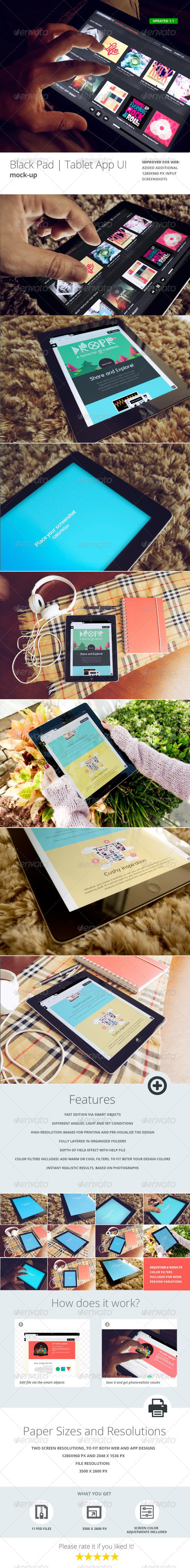 Black Pad | Tablet App UI Mock-Up v3 - Mobile Displays