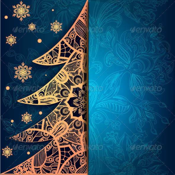 Christmas Greeting Card with Decorative Tree - Seasons/Holidays Conceptual