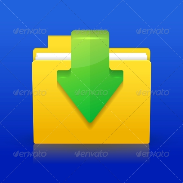 Download Icon on Blue Background - Web Technology