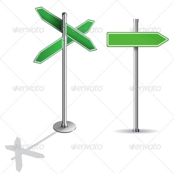 Blank Signs Pointing in Opposite Directions - Man-made Objects Objects