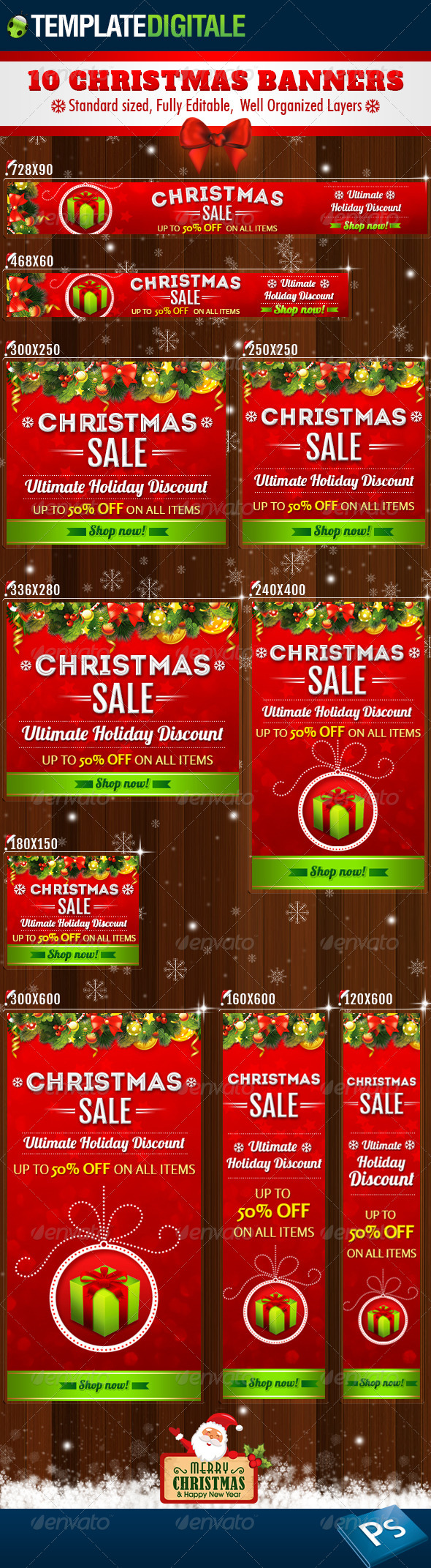 10 - Christmas Banners - Banners & Ads Web Elements
