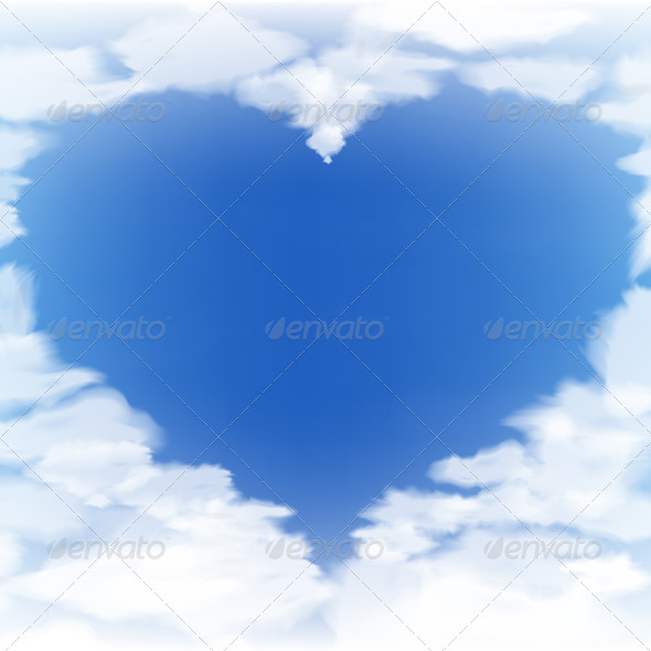 Blue Sky with Clouds in the Form of a Heart - Landscapes Nature