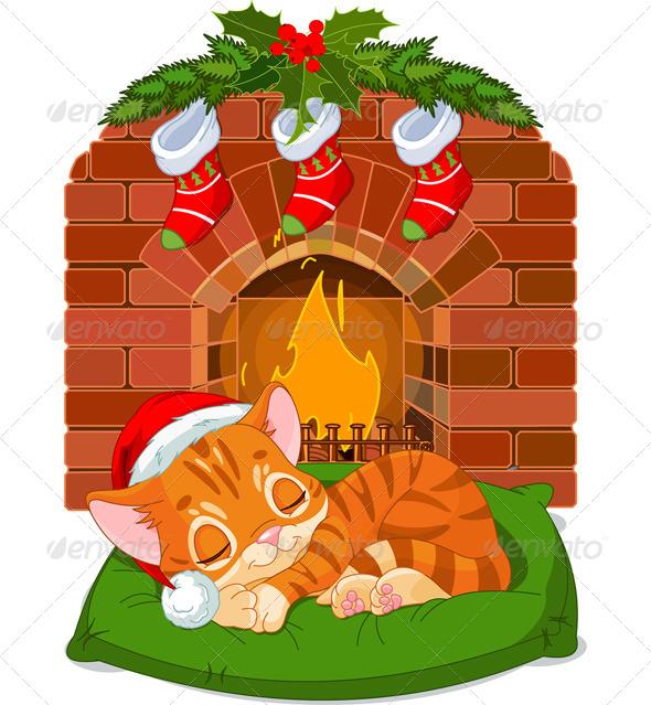 Christmas Kitten Sleeping near Fireplace - Christmas Seasons/Holidays