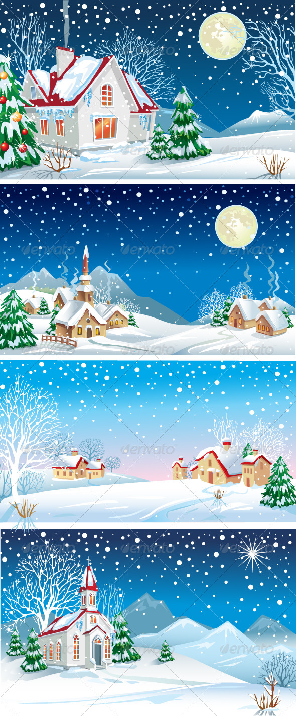 Set of Winter Landscapes - Christmas Seasons/Holidays