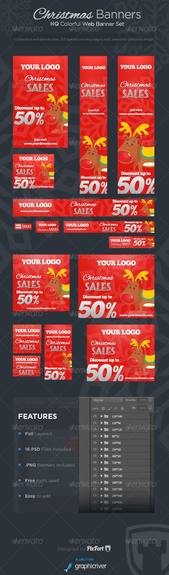 Christmas Banners - Colorful Web Banner Set - Banners & Ads Web Elements