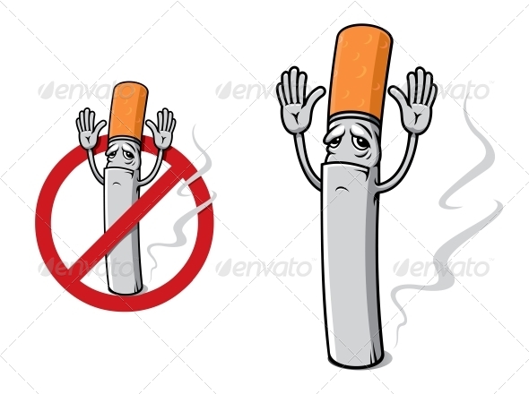 Sad Cigarette in Cartoon Style - Health/Medicine Conceptual