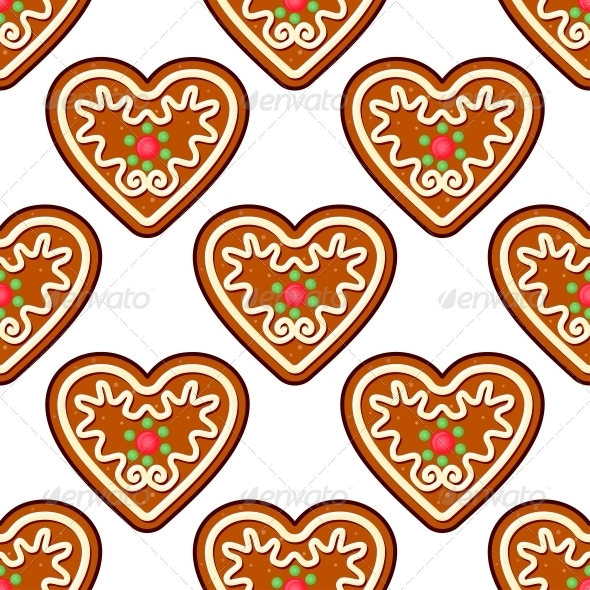Gingerbread Hearts Seamless Pattern Background - Christmas Seasons/Holidays