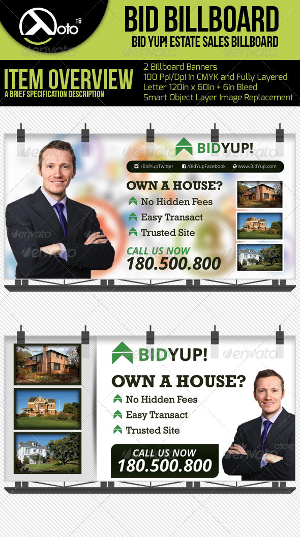 Bid Yup Estate Sale Billboard - Signage Print Templates