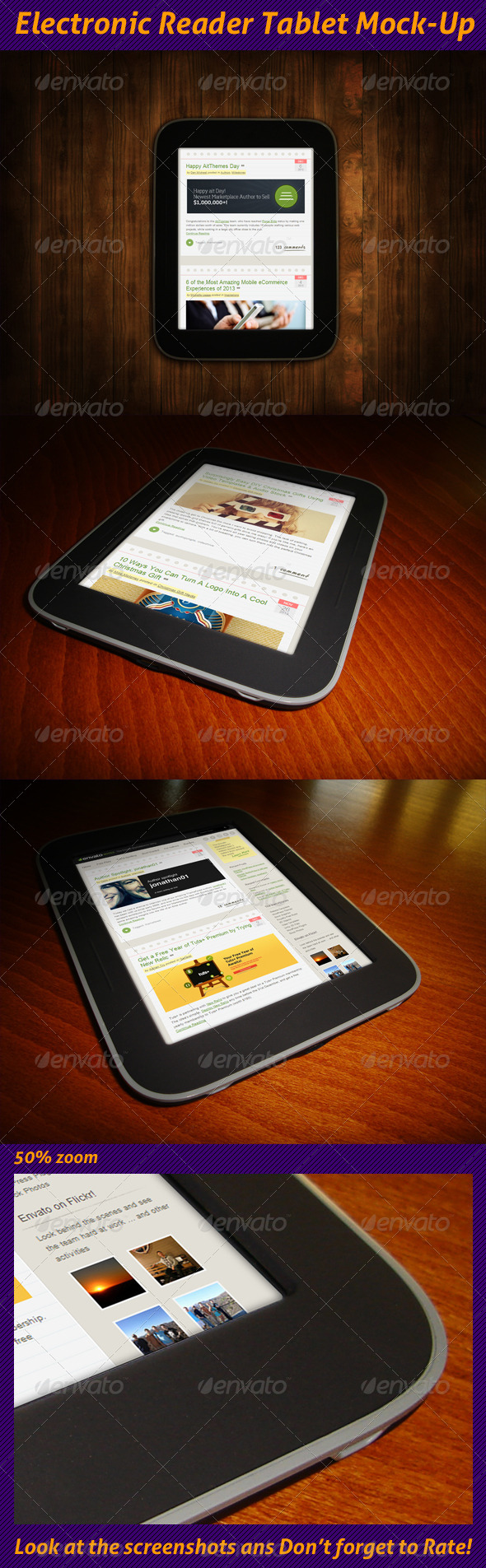 Electronic Reader Tablet Mock-Up - Miscellaneous Displays