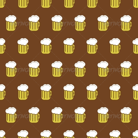 Vector Seamless Beer Background - Backgrounds Decorative