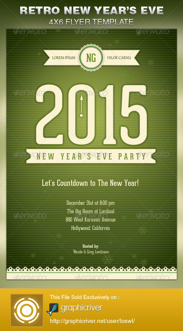 Retro New Year's Eve Party Flyer Template - Events Flyers