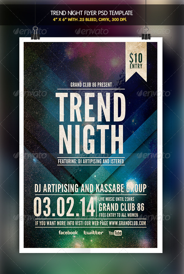 Trend Night   Party Flyer - Clubs & Parties Events