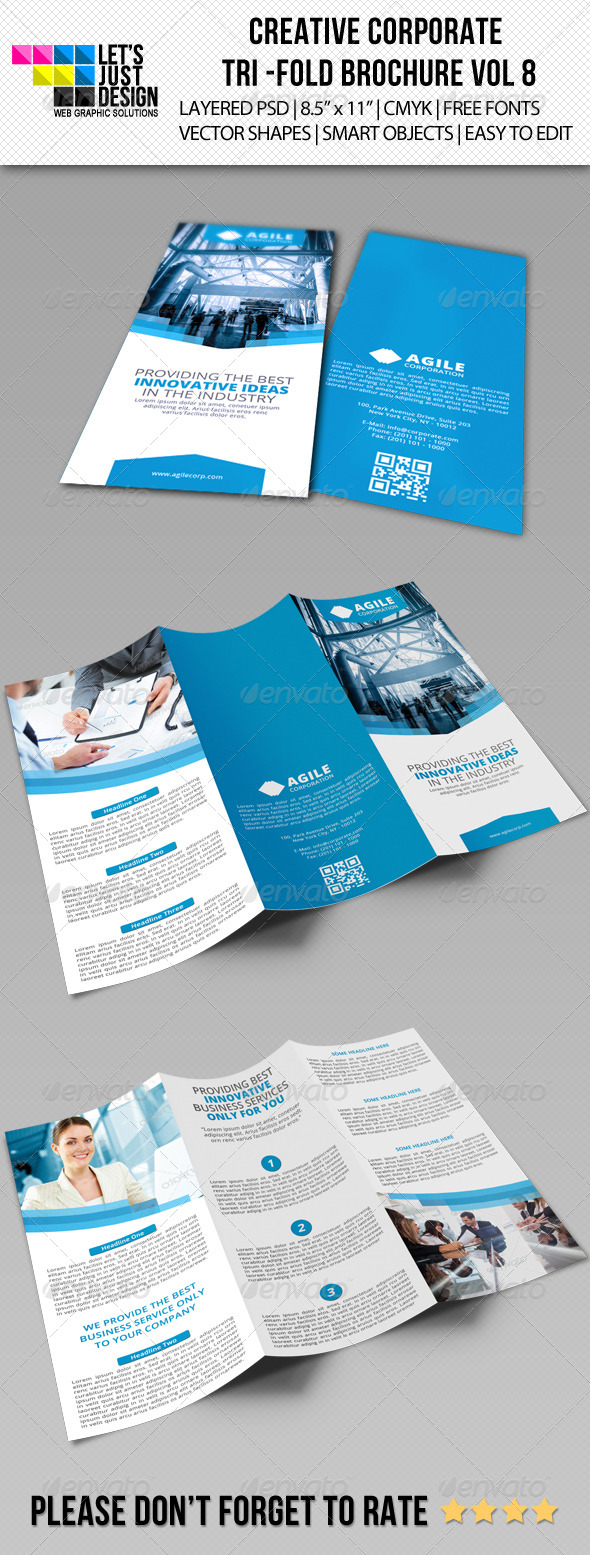 Creative Corporate Tri-Fold Brochure Vol 8 - Brochures Print Templates