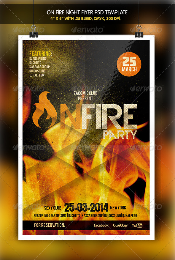 On Fire Night Party Flyer - Clubs & Parties Events