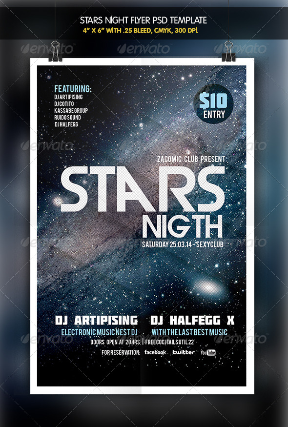 Stars Night Party Flyer - Clubs & Parties Events
