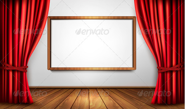 Background with Red Curtain and a Wooden Floor - Backgrounds Decorative